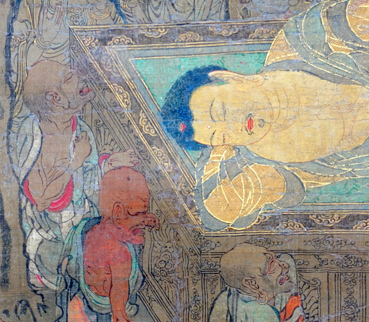 Langen Foundation Death of the Buddha Detail Distraught Monks
