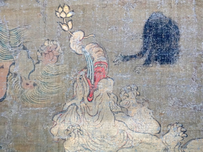 Langen Foundation Death of the Buddha Detail Distraught Dog(?) Offering Flower