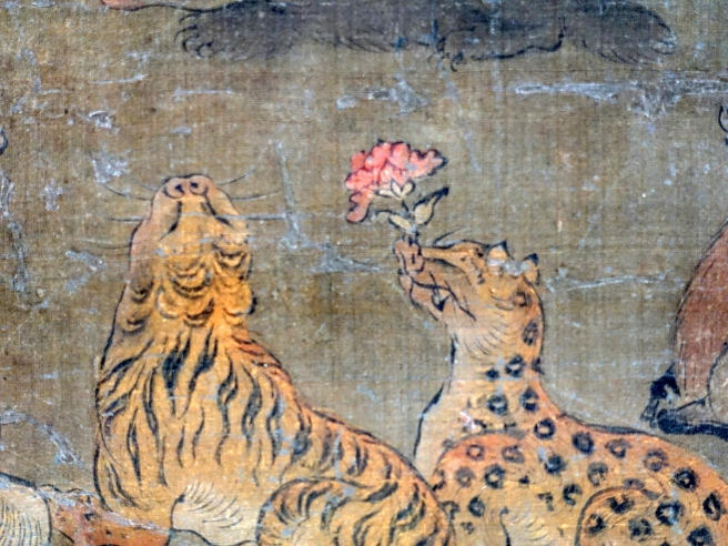 Langen Foundation Death of the Buddha Detail Tiger and Leopard Offering Flower