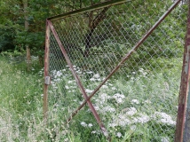 hubbelrath valley trail rusted gate among weeds